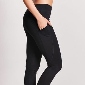 Black athletic leggings with pockets